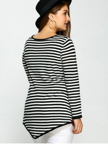 Trendy Plus Size One Pocket Asymmetric Striped Sweater - 3XL COLORMIX Mobile