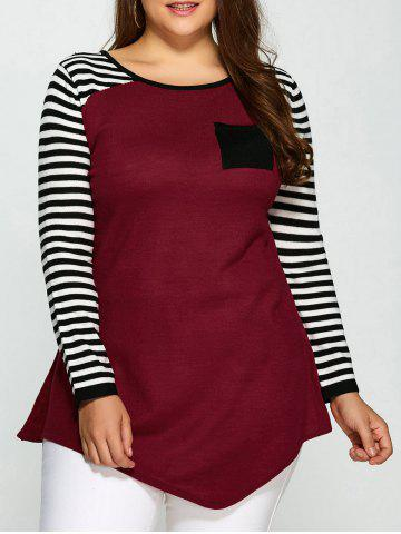 Plus Size One Pocket Asymmetric Striped Sweater - COLORMIX 2XL
