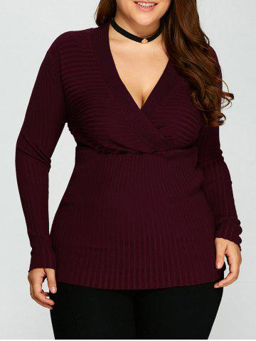 Outfits V Neck Plus Size Stripes Pattern Plain Sweater - 5XL PURPLISH RED C5 Mobile