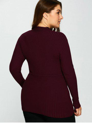 Hot V Neck Plus Size Stripes Pattern Plain Sweater - 5XL PURPLISH RED C5 Mobile