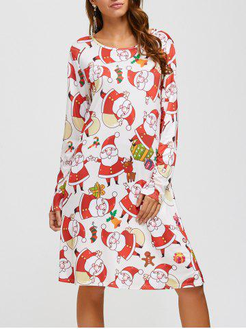 Santa Claus Pattern A-Line Dress - PINK/WHITE ONE SIZE