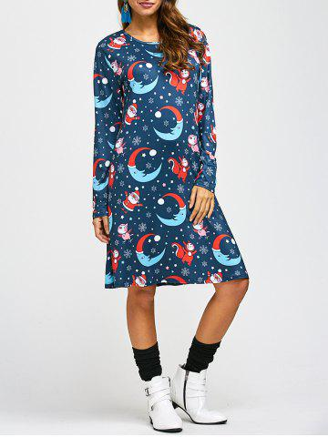 Santa Moon Print A-Line Dress - PURPLISH BLUE ONE SIZE