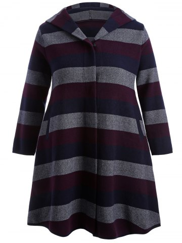 Outfits Wool Striped Hooded Coat