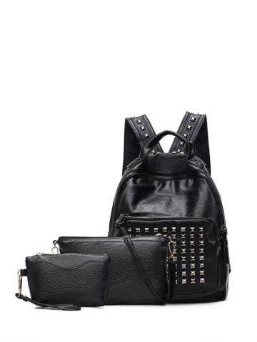 Trendy Zippers Metal Rivets Textured Leather Backpack