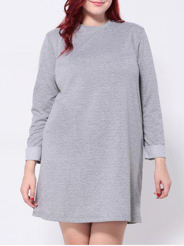 Outfits Plus Size Long Sleeves T-Shirt Dress GRAY 4XL