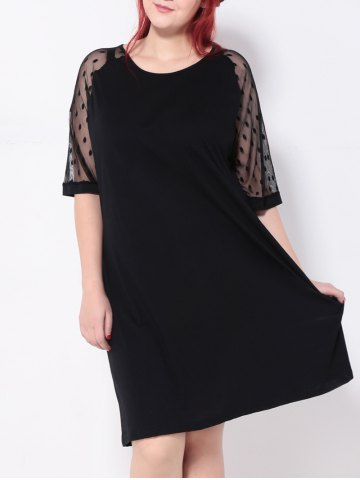 Store Plus Size Polka Dot Casual Shift Dress With Sleeve BLACK 5XL