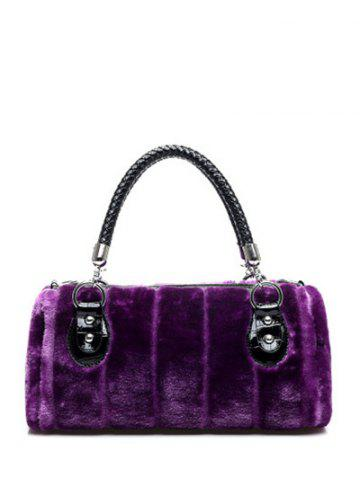 Outfits Splicing Faux Fur Metal Tote Bag
