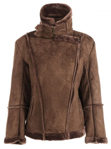 Outfits Fleece Lining Faux Suede Jacket