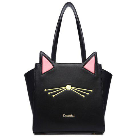Chic PU Leather Embroidery Colour Splicing Shoulder Bag