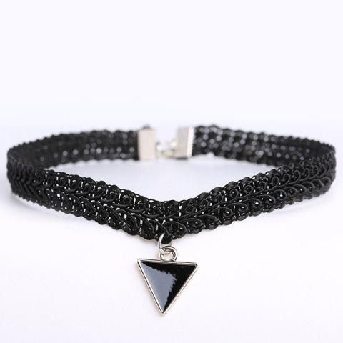 Trendy Vintage Triangle Statement Choker Necklace BLACK