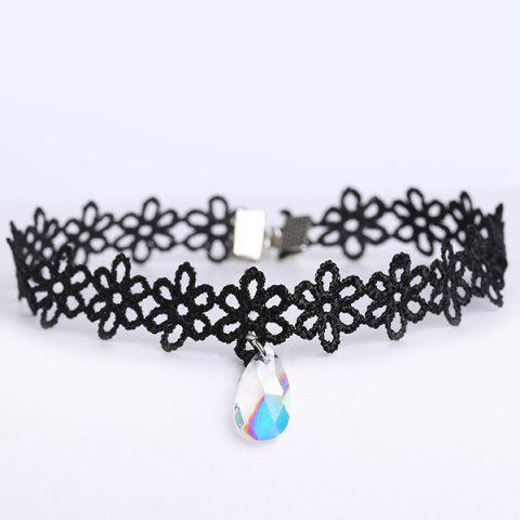 Unique Faux Gem Water Drop Floral Choker BLACK
