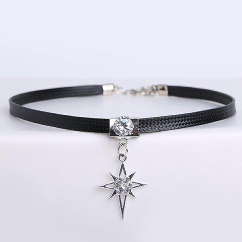 Outfits PU Leather Rhinestone Star Choker Necklace