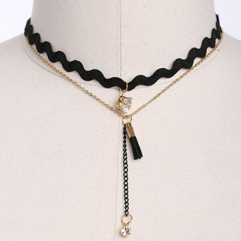 Store Rhinestone PU Leather Tassel Layered Necklace BLACK