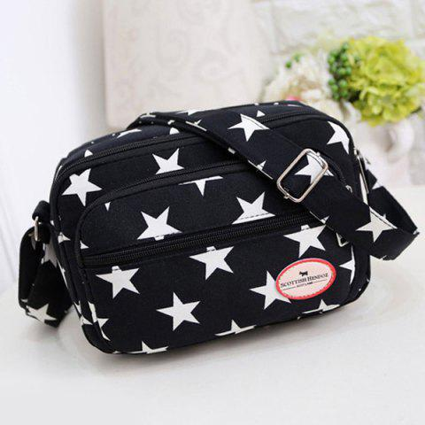 Latest Zippers Star Printed Colour Splicing Crossbody Bag