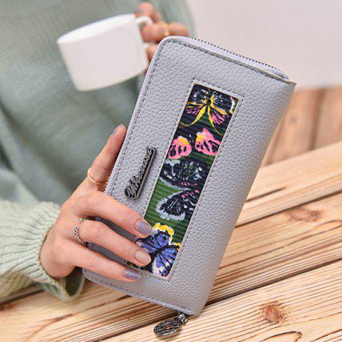 Fashion Colour Block Butterfly Print Textured Leather Wallet