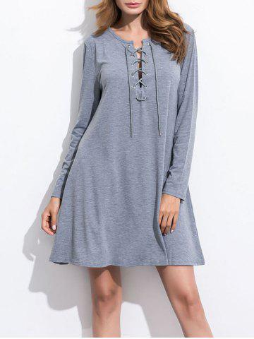 Long Sleeve Lace Up Knitted Dress - Gray - M