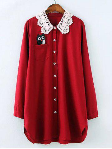 Discount Plus Size Owl Lace Crochet Collar Tunic Shirt WINE RED 2XL