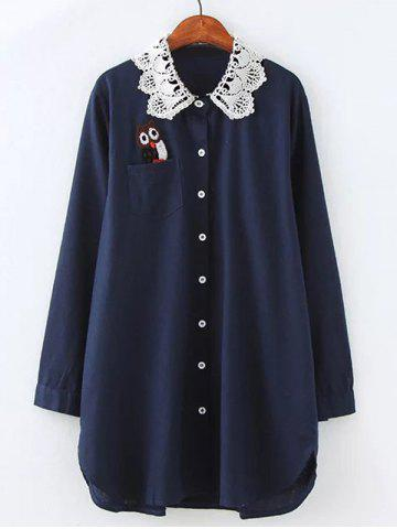 Plus Size Owl Lace Crochet Collar Tunic Shirt - Purplish Blue - 2xl