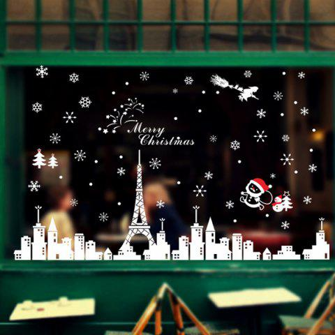 Discount Merry Christmas City Snowflake DIY Glass Window Wall Stickers WHITE