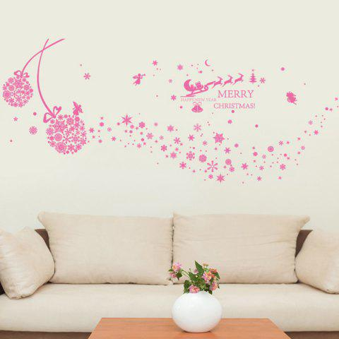 Fashion Snowflake Ball Christmas Wall Stickers Living Room Decoration PINK