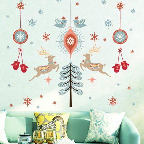 Shops Christmas Deer Wall Stickers Living Room Showcase Decoration COLORFUL