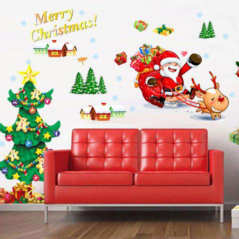 Christmas Tree Santa DIY Home Decoration Chriatmas Wall Stickers - COLORFUL