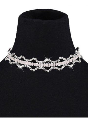 Hot Rhinestone Geometry Choker and Earrings WHITE