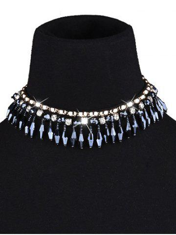 Chic Artificial Crystal Tassel Choker Necklace BLACK