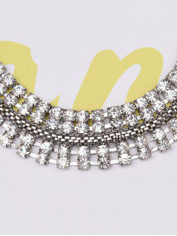 Affordable Symmetry Rhinestone Choker and Earrings - WHITE  Mobile