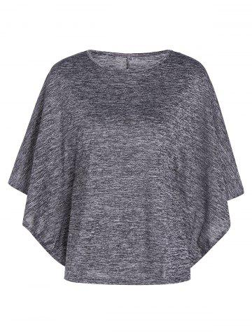 New Bat-Wing Sleeve Loose Tie-Dyed Blouse GRAY XL