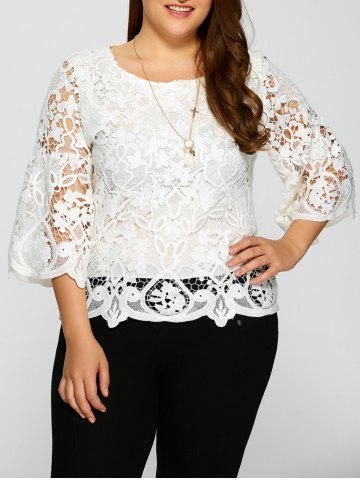 Buy Plus Size Bell Sleeve Sheer Lace Blouse