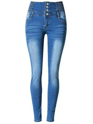 Store High Waist Buttoned Stretchy Jeans