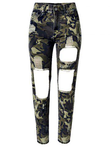 Latest Camo Print Broken Hole Jeans CAMOUFLAGE COLOR 44