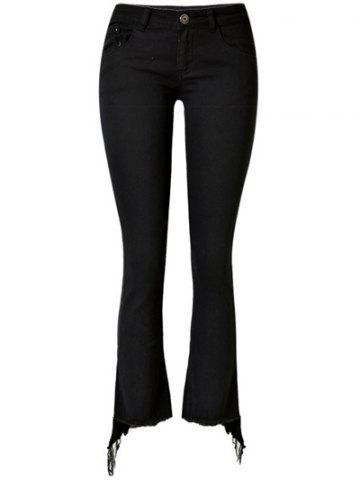 Affordable Stretchy Asymmetrical Slimming Jeans BLACK XL