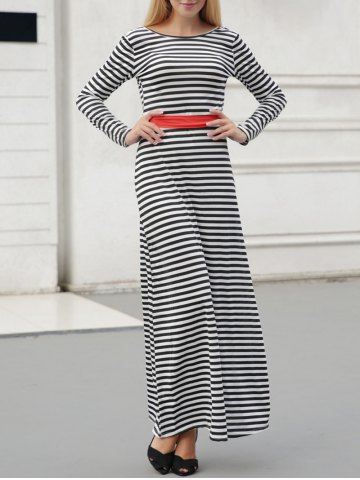 Unique Striped Long Sleeve Backless Maxi Casual Dress STRIPE L