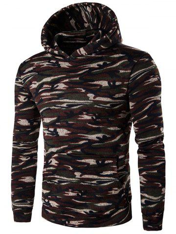 New Camouflage Print Pocket Long Sleeve Brown Hoodie COFFEE M