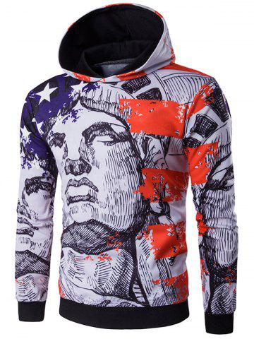 Outfit American Flag Star Printed Pullover Hoodie BLUE 2XL