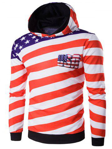 Outfit 3D USA Flag Star Printed Pullover Hoodie RED M
