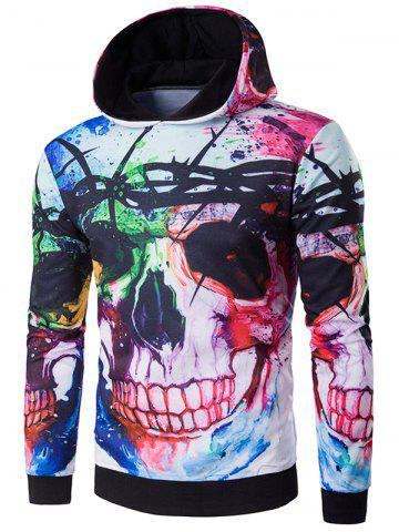 Chic 3D Skull Design Printed Halloween Hoodie COLORMIX 2XL