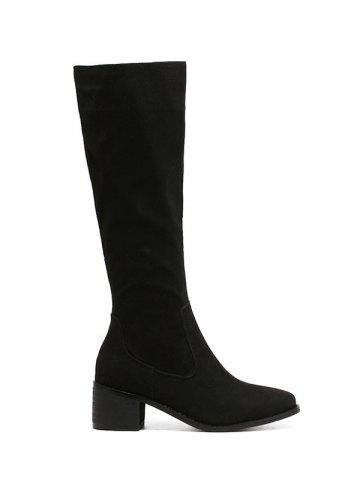 Chic Zip Up Knee High Chunky Heel Boots BLACK 39