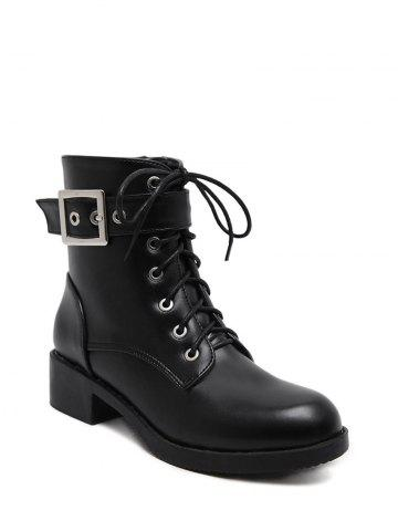 Shops Eyelet Buckle Strap Chunky Heel Combat Boots BLACK 38