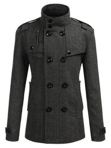 Affordable Stand Collar Epaulet Embellished Double Breasted Coat