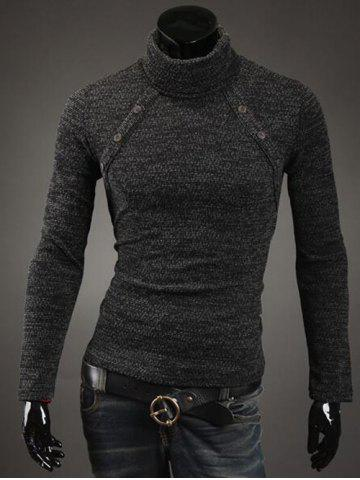 Button Embellished Turtleneck Sweater - Deep Gray - M