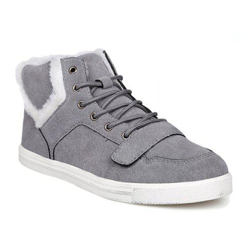 Online Suede Fuzzy Ankle Boots GRAY 43
