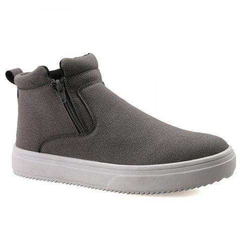 Unique Casual Double Zips Suede Boots - 43 GRAY Mobile