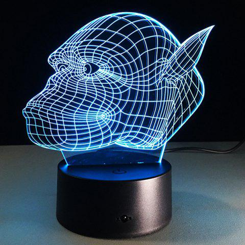Cheap 7 Color Touch Changing 3D Gorilla Night Light TRANSPARENT