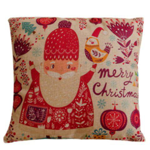 Trendy Festival Cartoon Santa Claus Pillow Case RED