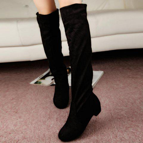 Fashion Suede Low Heel Thigh Boots BLACK 39