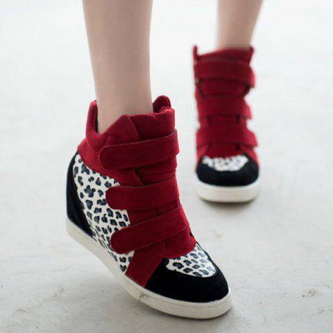 Unique Leopard Printed Hidden Wedge Boots RED 39
