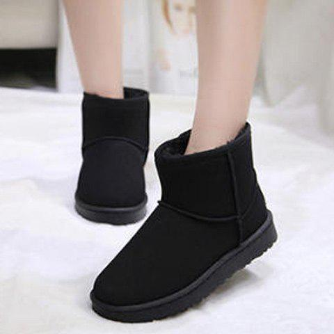 Fashion Suede Ankle Snow Boots BLACK 37
